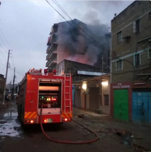 Kariobangi building burns for 13 hours without stopping
