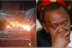 Jubilee merchandise burnt in Kisii, Uhuru warned as he visits the region (photos, video)