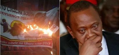 Mabango ya Jubilee YAHARIBIWA Kisii huku Uhuru akizuru eneo hilo (picha)