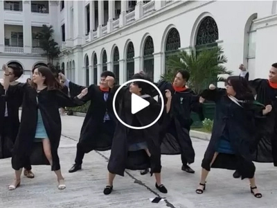 College dancers pull off awesome dance routine on their graduation day