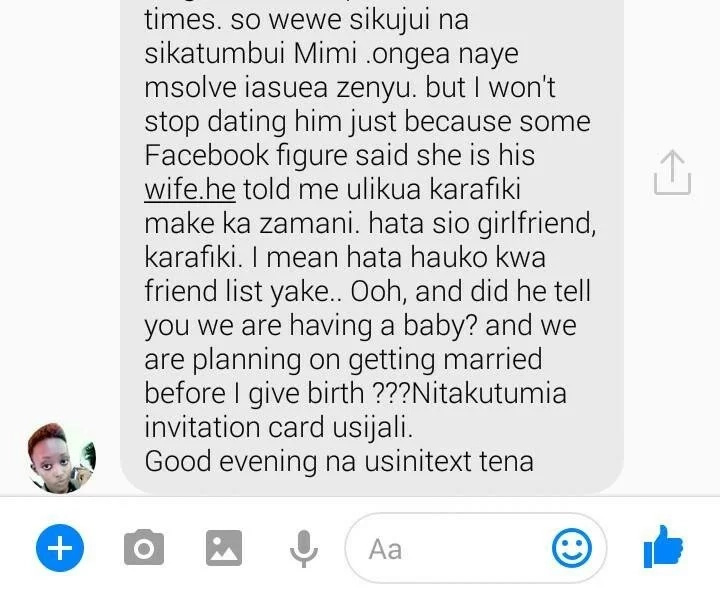 I love your husband just like you do - Mpango Wa Kando tells wife in heated text exchange
