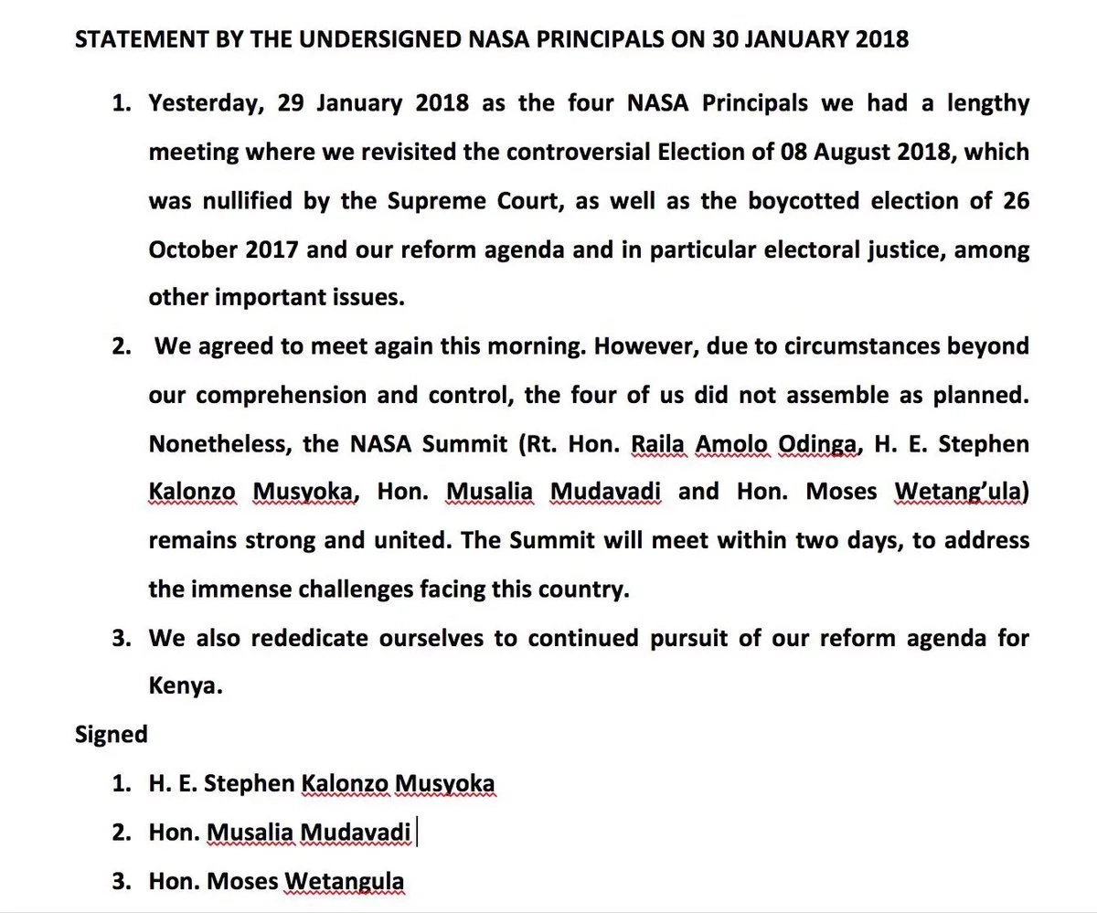 Kalonzo, Mudavadi and Wetangula say circumstances beyond their control stopped them from attending swearing-in event
