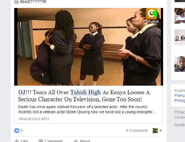 Popular Tahidi High actor, OJ, killed by the internet
