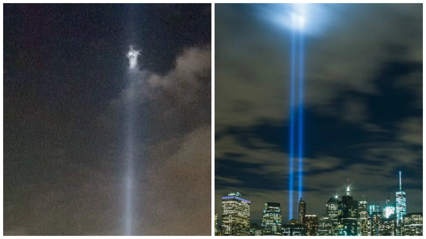 Jesus Christ appears in sky above World Trade Centre to commemorate victims of of 9/11 terror attack (photos)