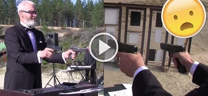 This incredibly skilled crazy Russian guy plays music by shooting guns!