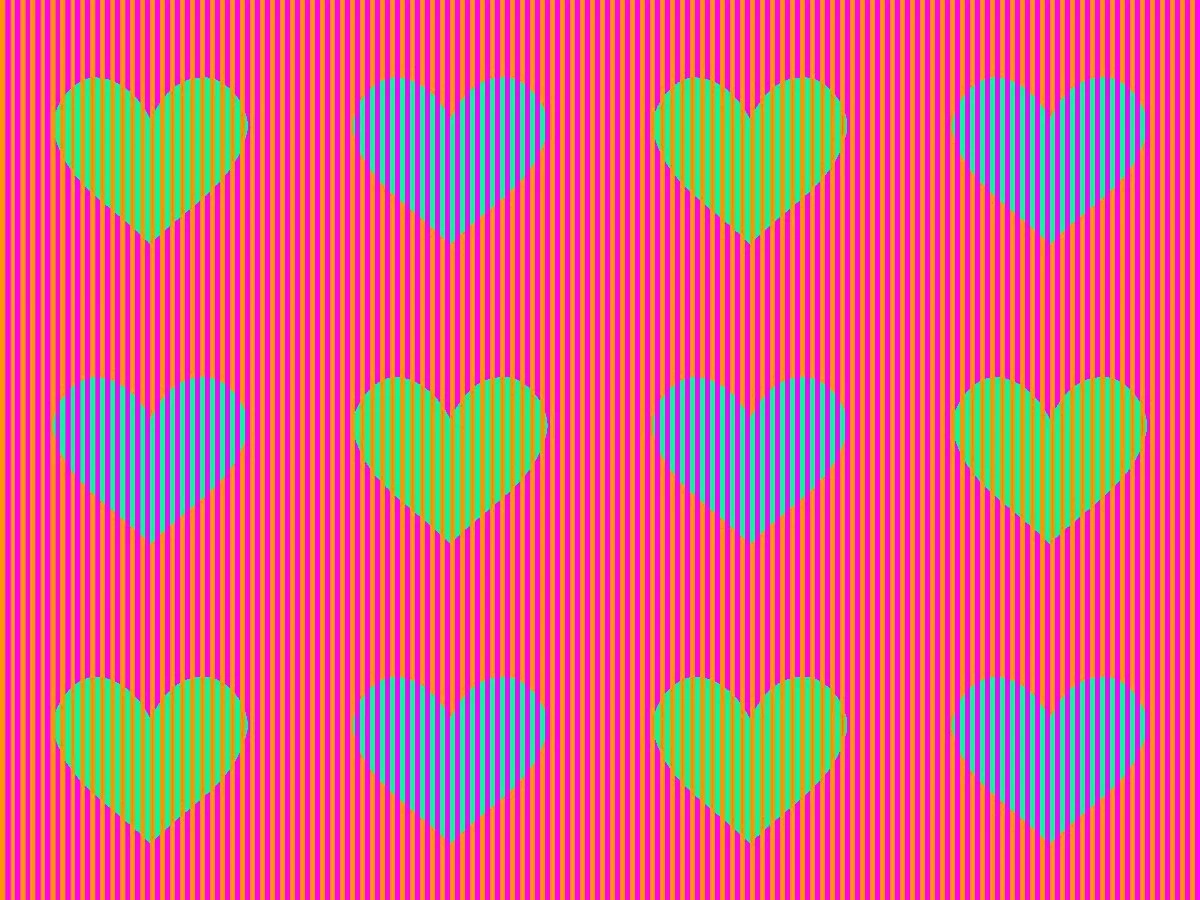 Ilusión óptica engaña al cerebro en el color de estos corazones