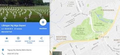 Baguhin ang pangalan! Libingan ng mga Bayani at Isang Magnanakaw spotted in Google Maps