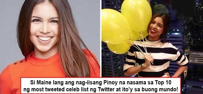Di natutumba si Yaya Dub! Maine Mendoza hailed as the only Filipino who made it to Twitter's 'Worldwide Most Tweeted Celebrity List'