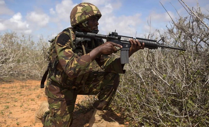 KDF soldiers stumble on a dying buffalo,what they do next will leave you with a tear(photos)