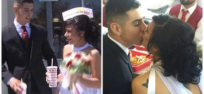 Newlyweds celebrate their marriage with burgers and fries in fast food restaurant (photos)
