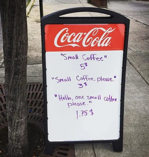 Coffee shop owner makes sign to deter rude customers