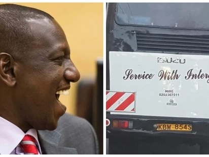 William Ruto spots an embarrassing grammatical error on university bus and posts on Twitter