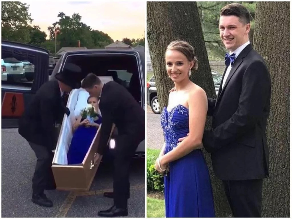 She killed it! Girl, 17, arrives at her school's prom in a COFFIN, leaves her classmates in shock and confusion (photos)