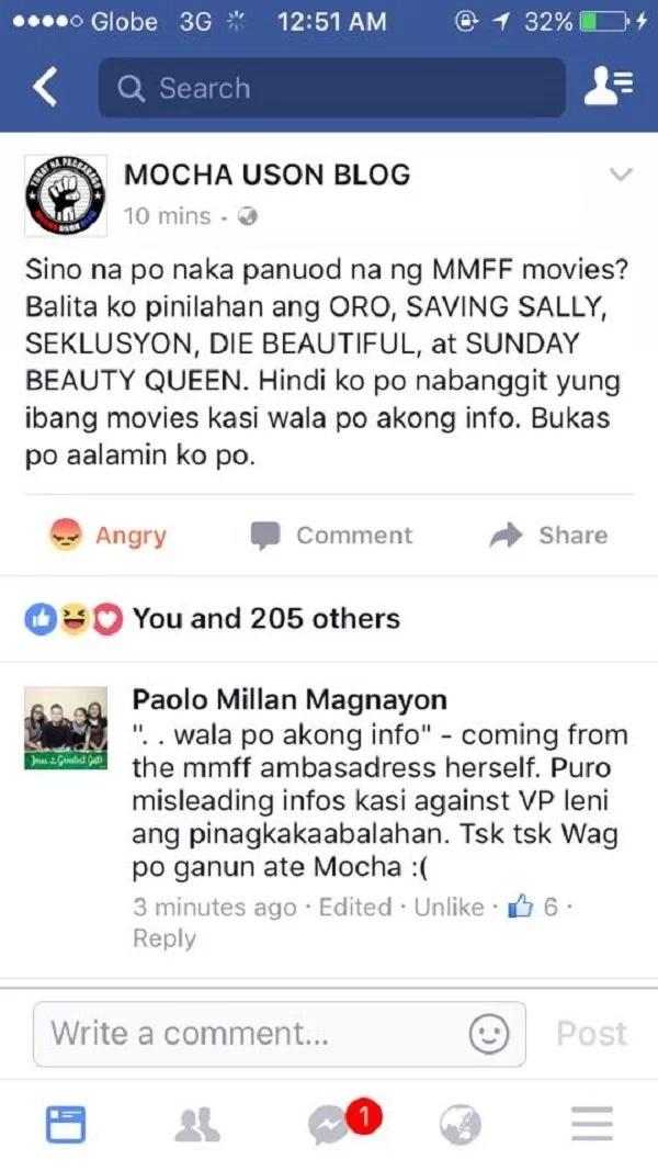 Netizen lambasts Mocha Uson after viral MMFF post