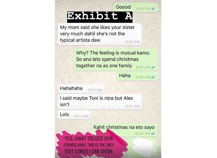 Alex Gonzaga shows proof that there is no animosity between her and Isabelle Daza
