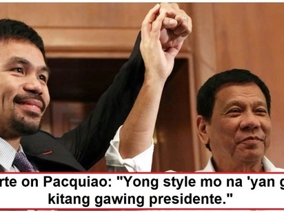 Bet talaga siya ni Digong! Duterte thinks Manny Pacquiao will make a good president someday