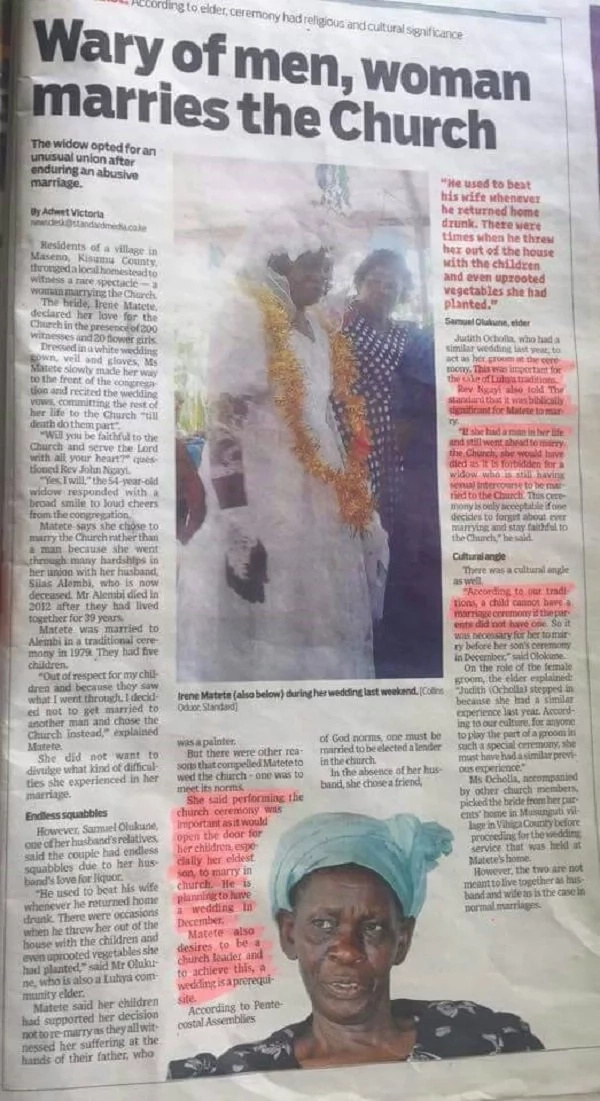 Ni kukosa mume au..? Mwanamke kutoka Maseno afunga ndoa na kanisa
