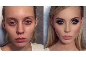 You'll never believe that this is the same person before and after makeup! Watch more 'before & after' makeup photos!