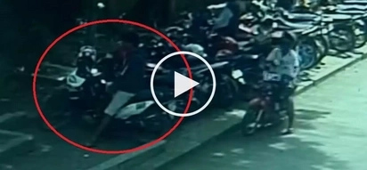 Sneaky Pinoy thieves caught on CCTV stealing motorcycle at Davao City hospital parking lot