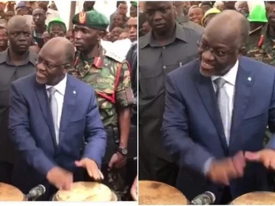 President Magufuli shocks many after displaying his INSANE drumming skills (Video)