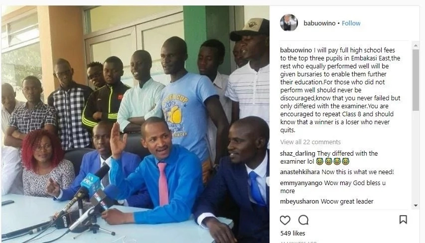 You only differed with the examiner-Babu Owino spits wisdom to KCPE candidates who failed