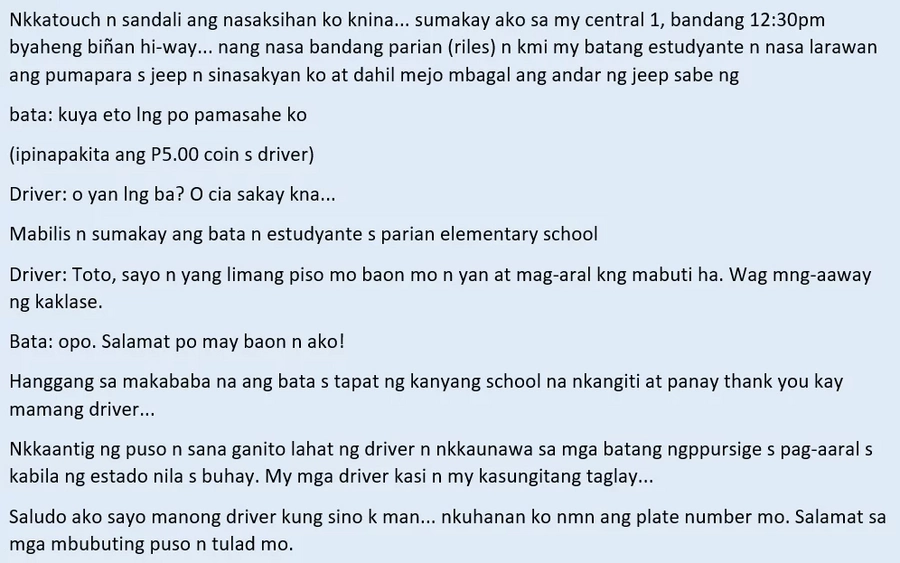 Sana lahat kagaya ni Kuya! Viral story of a jeepney driver's priceless reaction to a student who can't pay for his fare