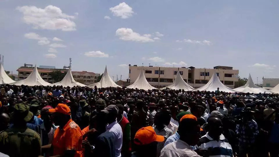 Raila Odinga leads political rally in Aden Duale's backyard