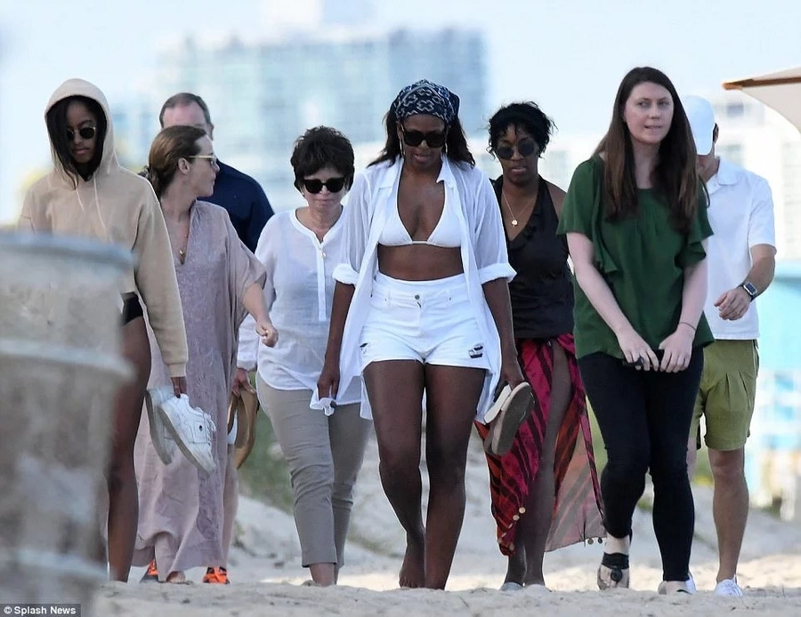 Ex-First lady Michelle Obama's stunning figure at 53 years leaves many drooling as she hits the beach in bikini