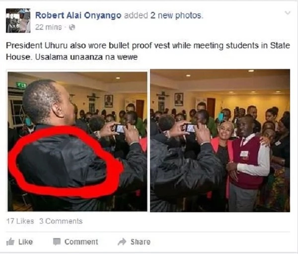 Did Uhuru Kenyatta wear a bullet-proof vest to the Jubilee HQ?