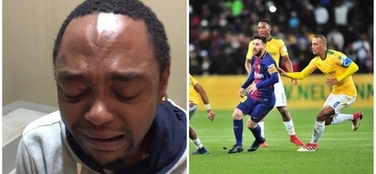 Barca vs Downs pitch invader's shame and cry-face shared with the world