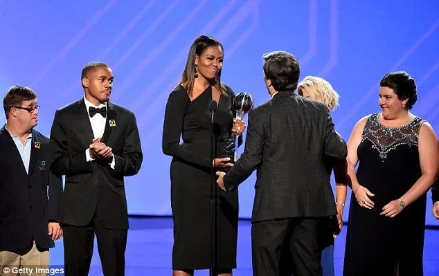 Shriver's son Timothy received the award on her behalf. Photo: Getty Images