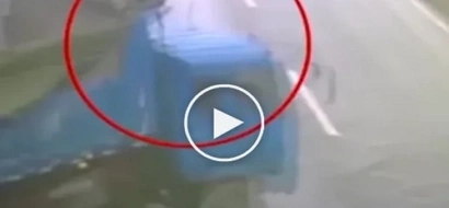 The driver was thrown from an out-of-control truck