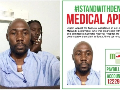 Please help me undergo KSh12 million bone marrow transplant in South Africa - journalist pleads with Kenyans