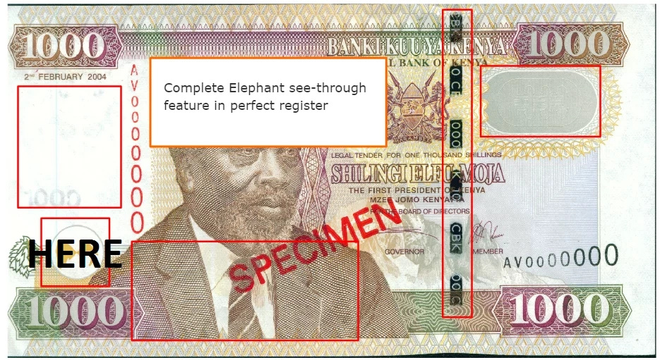 How to identify a fake Kenyan note (illustrations)