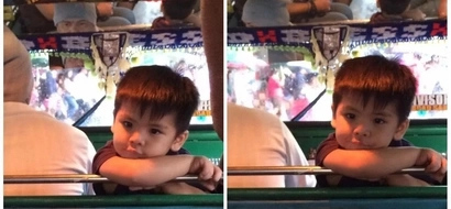 Ang cute ng kundktor! This adorable little boy helps his dad in collecting jeepney passengers' fare