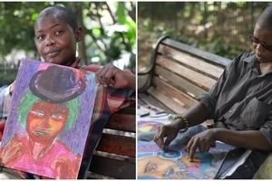 Inspiring! Homeless woman's love for art helps her find meaning in life (photos, video)
