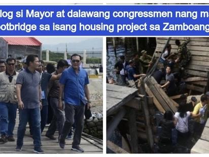 Aray ko po! Zamboanga City Mayor & 2 congressmen nasaktan matapos masira ang footbridge na nilalakaran