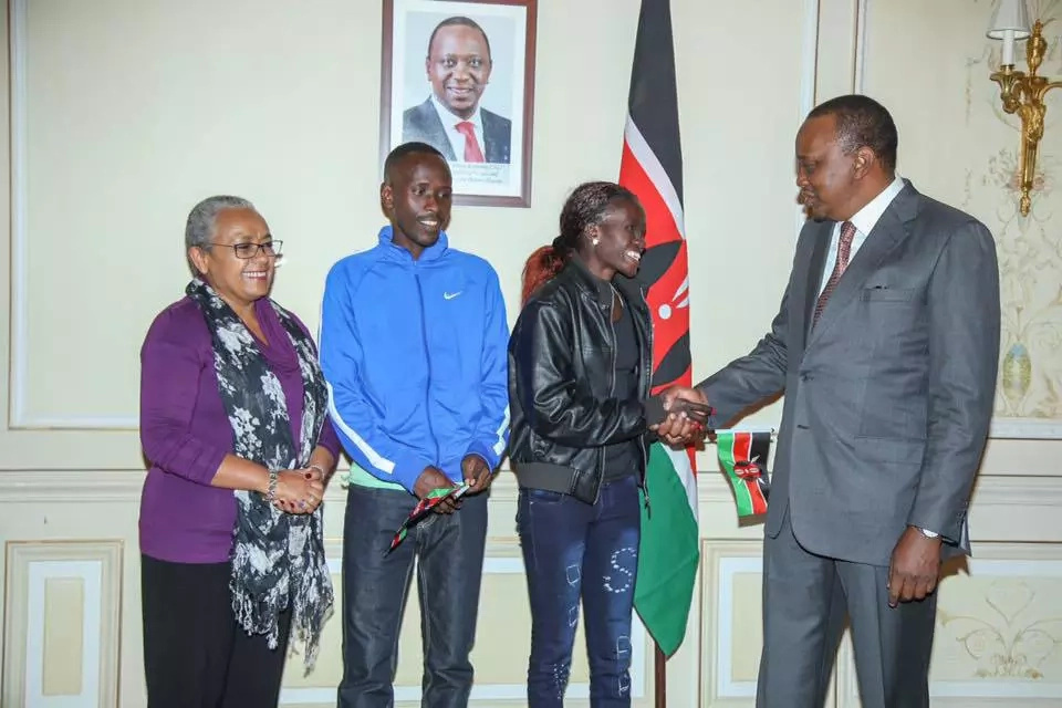 Uhuru and First lady meet Paris Marathon winners