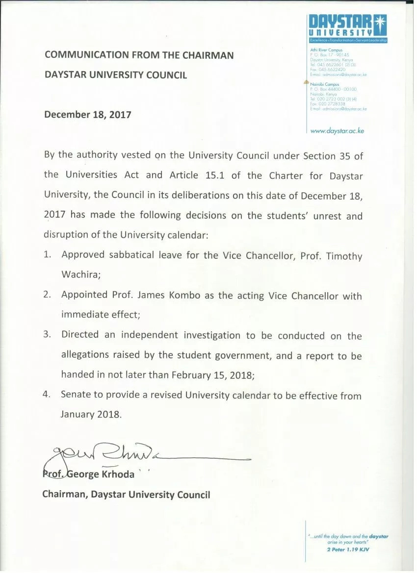 Daystar University Vice Chancellor exits following numerous student strikes