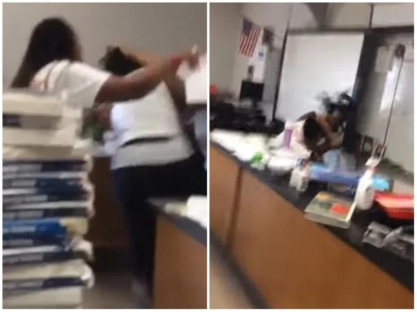 Teachers exchange lethal blows in class as bemused students scream for help