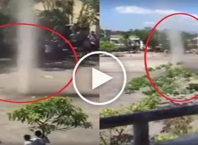 Nakakatakot ito! Students believe these mini whirlwinds in Albay were created by devils