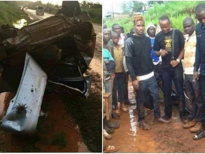 Kenyan artists survive a GRISLY road accident on their way from Ayeiya's burial (Photo)