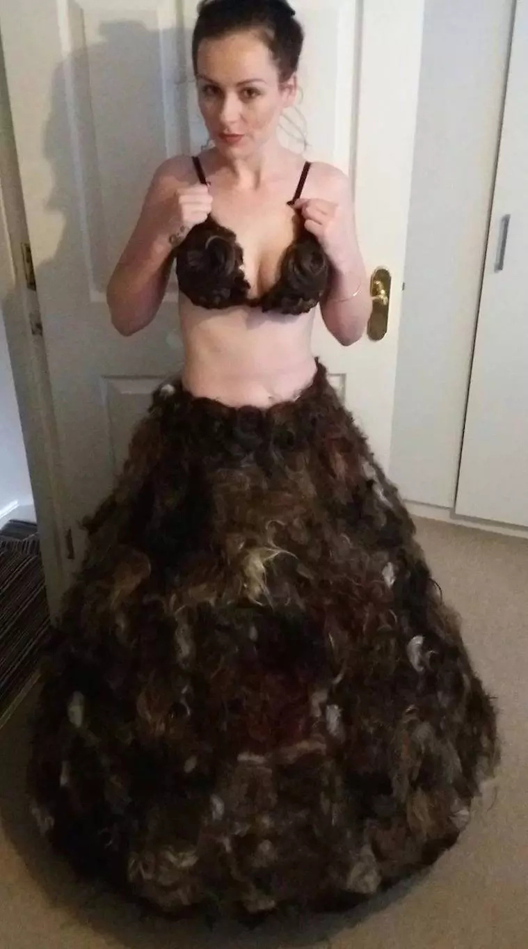 Designer creates dress out of pubic hair