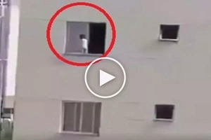 #Nakakatakot: Innocent little girl almost falls to death while playing at tall building's window