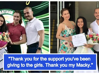Isinama rin ang boyfriend! Sunshine Cruz attends daughters' moving up day and graduation with Macky Mathay