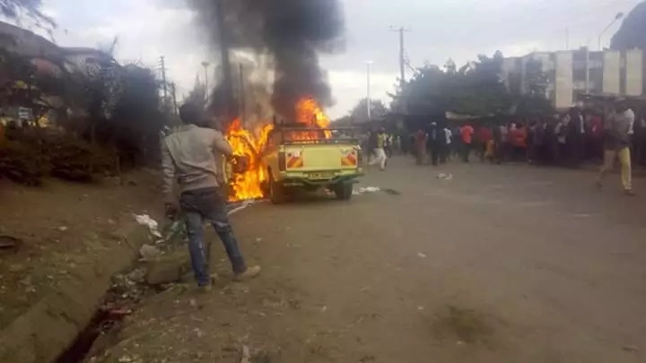 Government hunting for ODM supporters who burnt vehicle on Sunday
