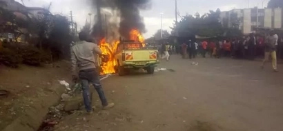 Government delivers blow to ODM after a vehicle was burnt in Sunday's rally
