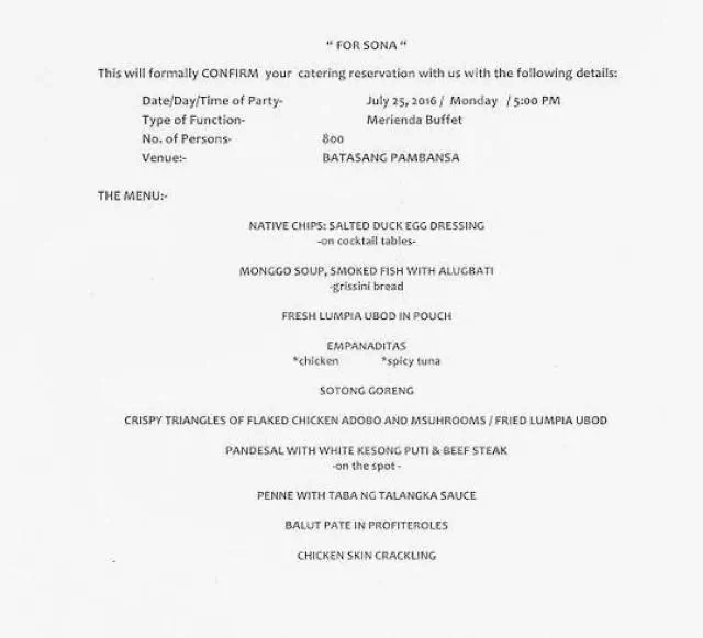 Duterte's SONA and inauguration menu are similar