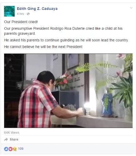 WATCH! Duterte weeps as dawn breaks
