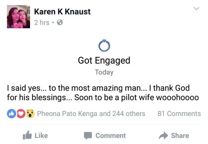 Karen Karimi announces her engagement to boyfriend